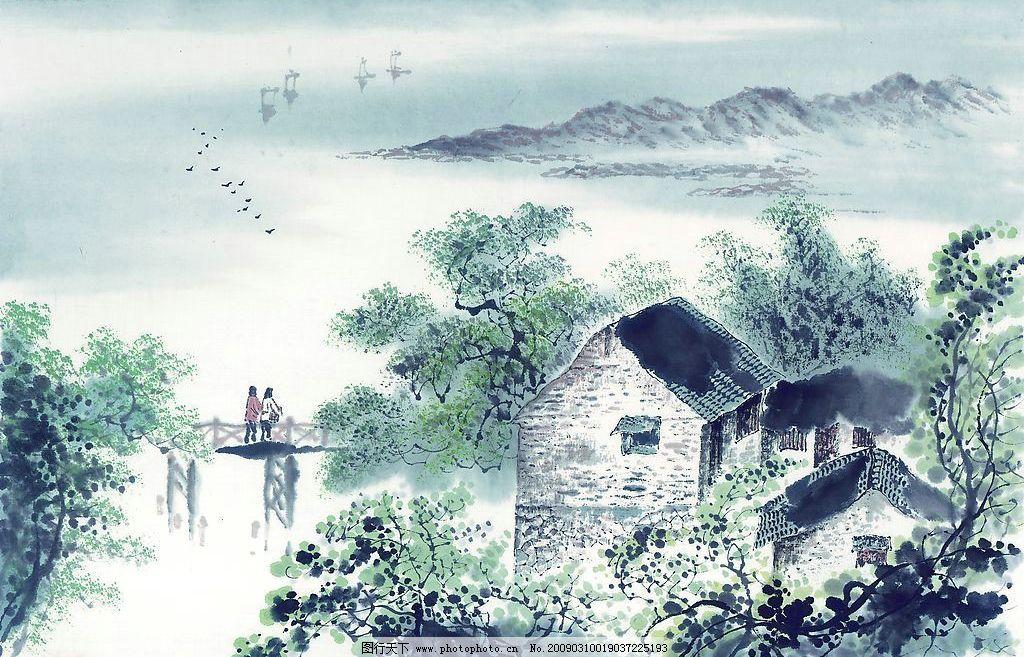 山水国画 山水 国画 水墨画 风景 小村 小桥 国粹 文化艺术 绘画书法