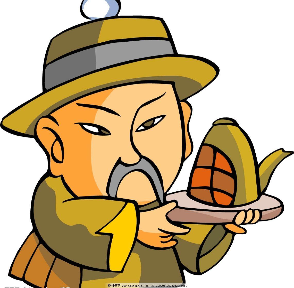 卡通风格中国古代人物矢量素材图片
