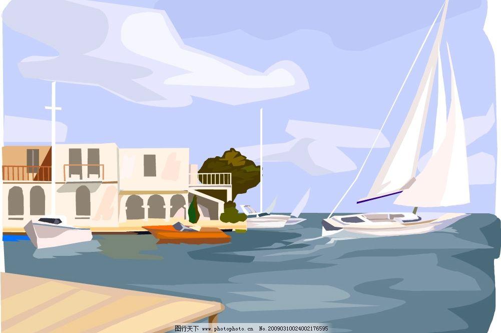 海边 建筑 风景 房子 油画 静景 自然景观 建筑景观 矢量图库 wmf
