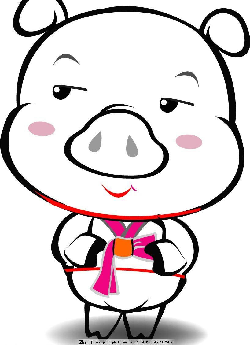 可爱猪 点线色 矢量图库