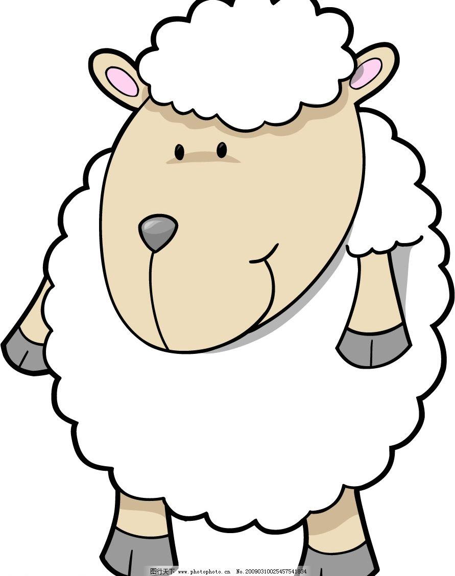 可爱卡通动物 矢量大熊猫 小绵羊 其他生物 矢量图库