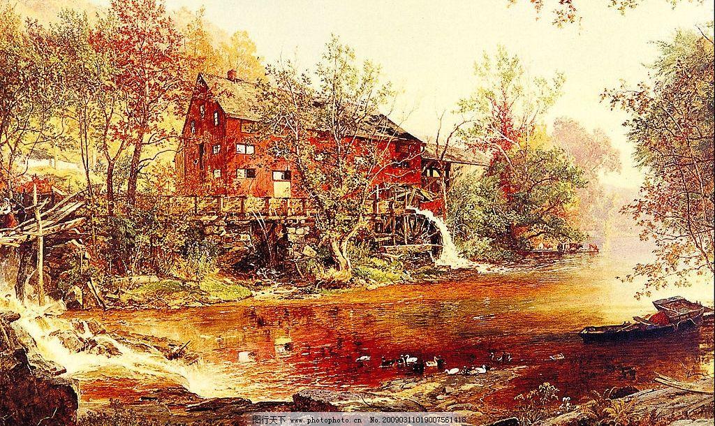 风景油画 现代油画 意境 欧式油画 天空 湖树 相框 装饰画