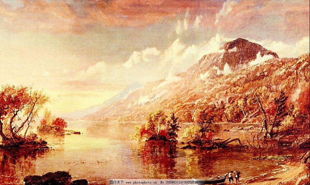风景油画 现代油画 风景 意境 欧式油画 天空 湖 相框 装饰画 墙画
