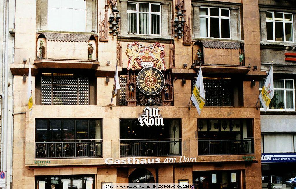 欧式风情 欧洲 建筑 房子 旗子 招牌 吊钟 旅游摄影 国外旅游 摄影