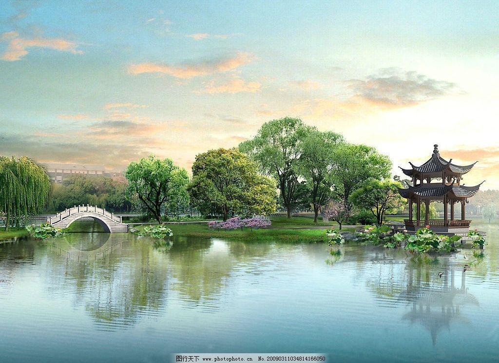 风景 亭子 树 水边 绿树 梅花 古代 桥 天空 摄影图库