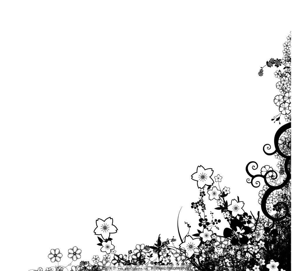 右下角花纹 右下角 花纹 黑色 花朵 背景 psd分层素材 源文件库 100