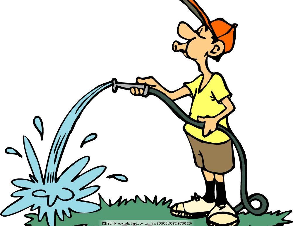 卡通 人物 男孩 帽子 浇水 灌溉 草地 水管 矢量人物 日常生活