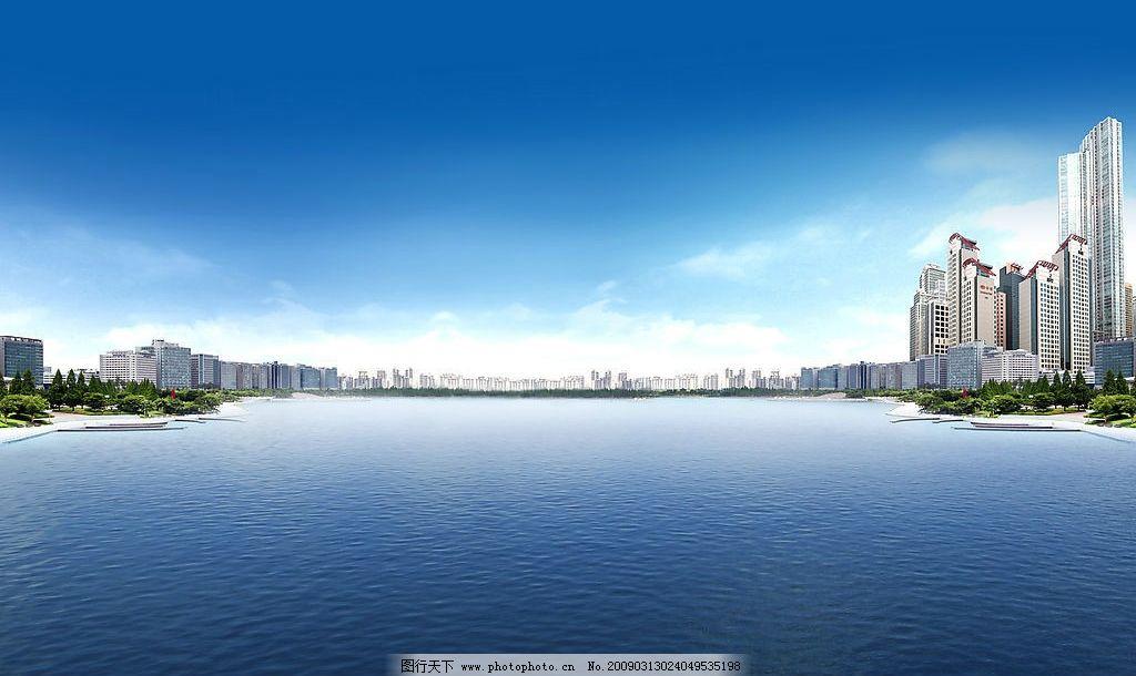 海岸城市 大海 海岸 海岸线 沿海 沿海城市 城市 高楼 大厦 天空 自然