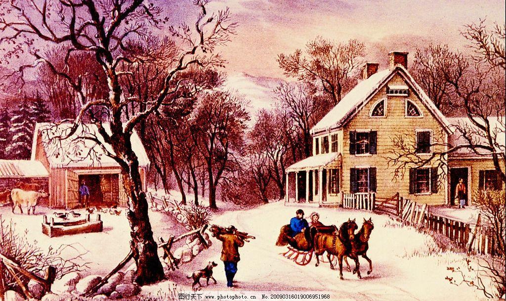 雪景油画 现代油画 风景 意境 欧式油画 树 雪 雪景 房屋天空 相框