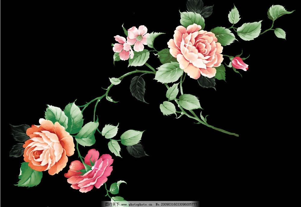 手绘花朵 花朵 花卉 玫瑰花 手绘 psd分层素材 源文件库 254dpi psd
