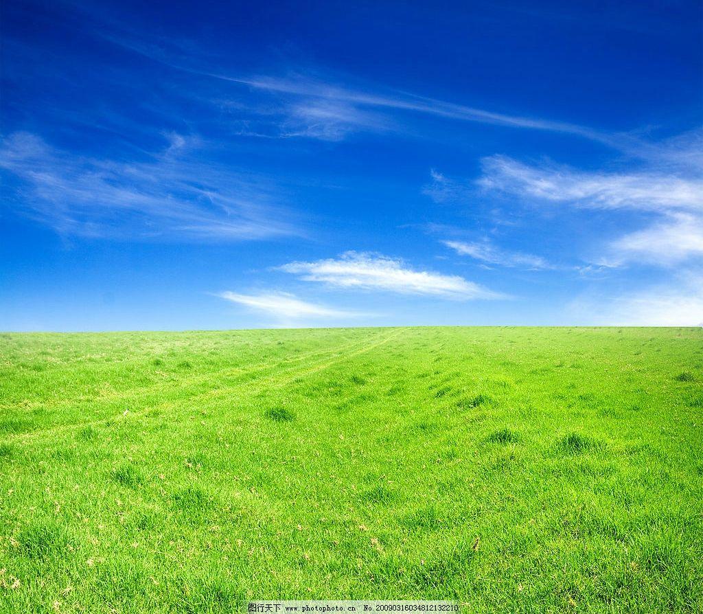 蓝天绿地 蓝色 绿色 白云 青草 自然景观 自然风景 摄影图库