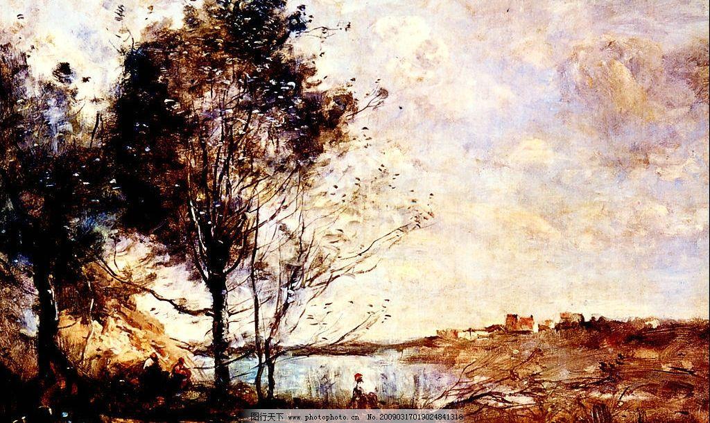 风景油画 现代油画 风景 意境 欧式油画 树 小溪 奇观 天空 相框 装饰