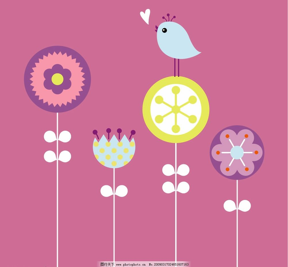 花上的小鸟 鸟 蓝色 植物 明亮 快乐 雏菊 装饰 设计 图画 女性 花卉 花 乐趣 庭院 愉快 叶子 爱 橙色 粉红色 形状 夏天 向日葵 甜 华伦泰 葡萄酒 生物世界 鸟类 矢量图库 EPS