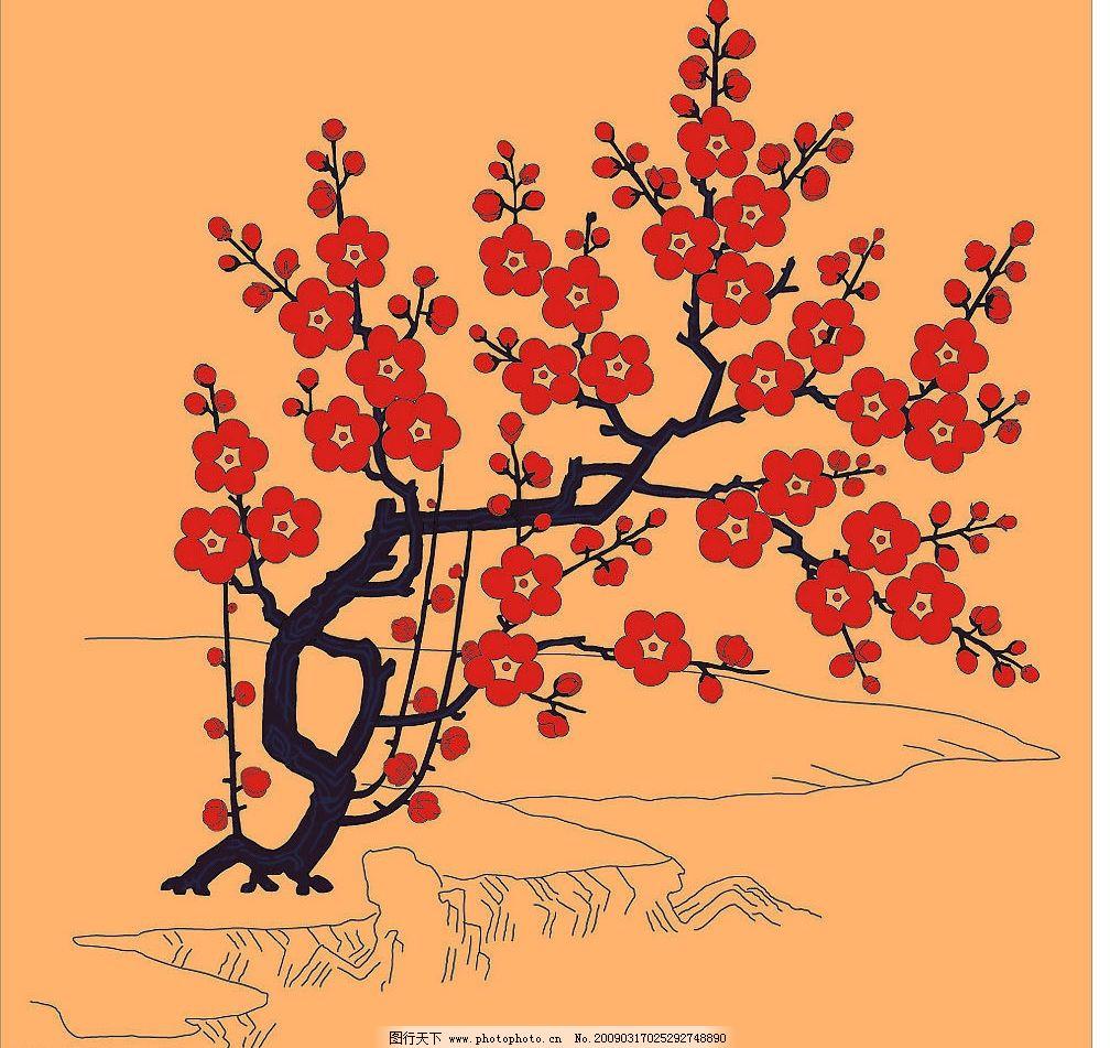 传统图案 花卉 植物 花纹 竹子 松树 梅花…… 其他矢量 矢量素材