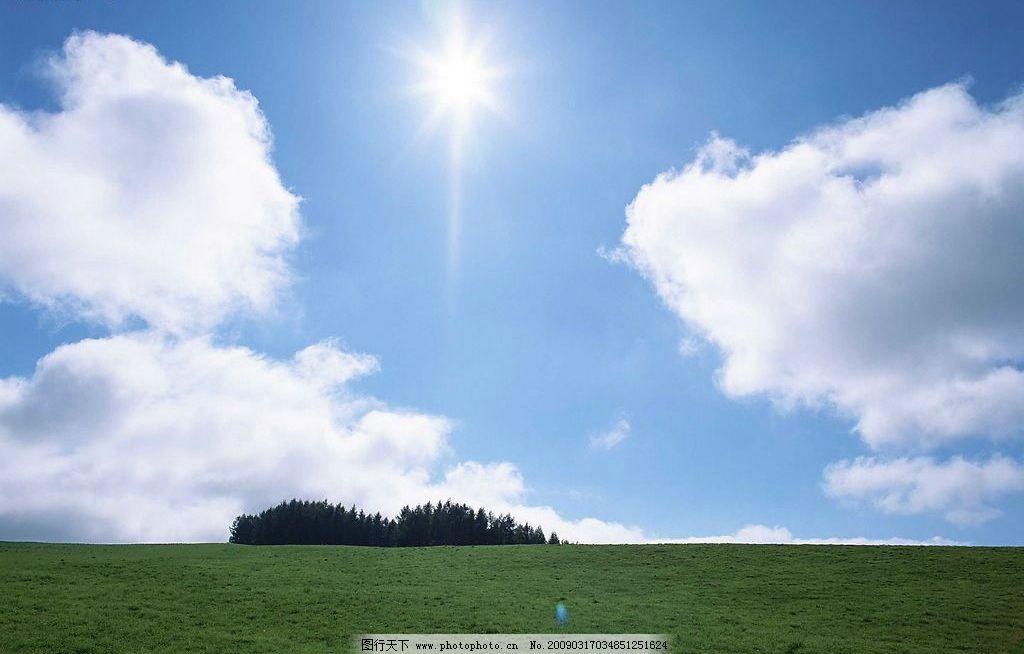 天空 蓝天 白云 草地 太阳 阳光 树林 自然景观 自然风景 摄影图库 72
