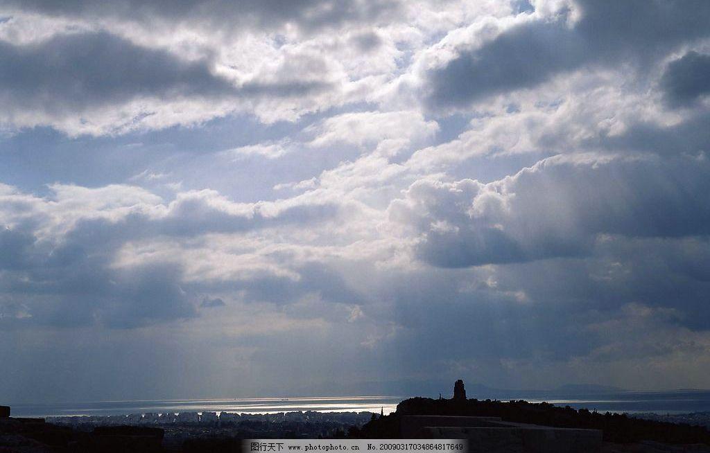 天空 蓝天 白云 光线 城市 自然景观 自然风景 摄影图库 72dpi jpg