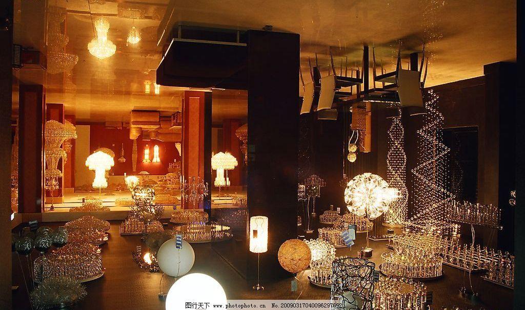 灯具店 镜子 装潢 装修 装饰 室内 设计 黑色 暗藏灯 灯槽 灯具 水晶