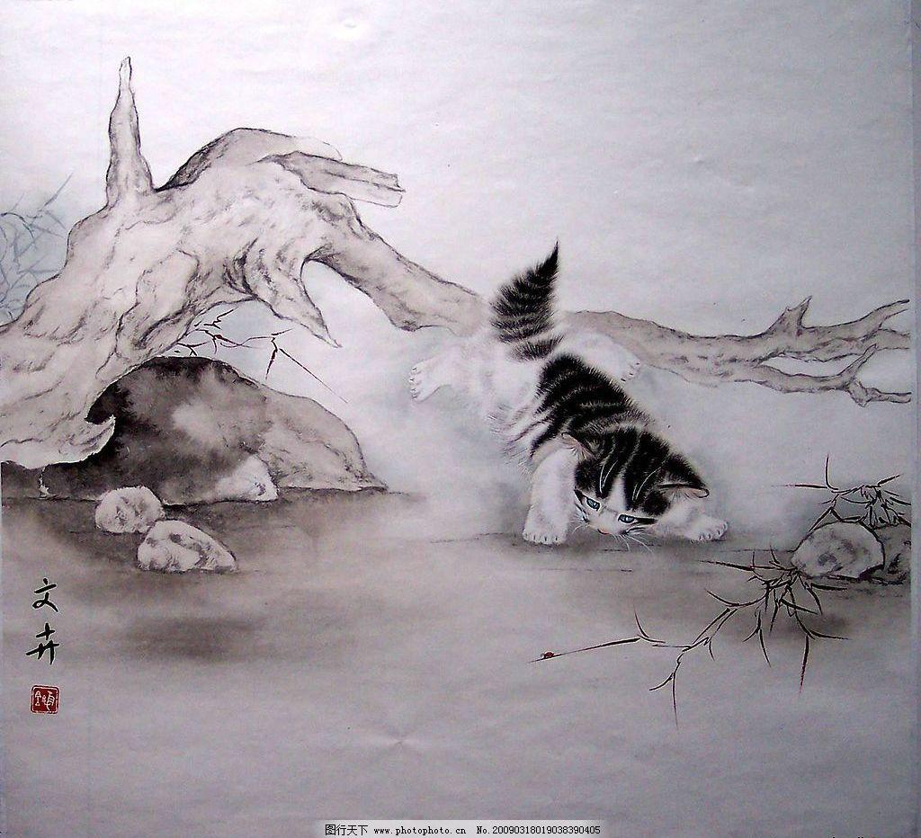 工笔猫 猫 可爱 国画 工笔画 文化艺术 绘画书法 设计图库 72dpi jpg