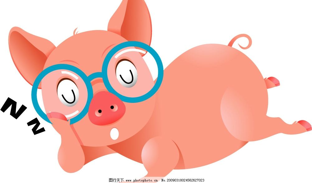 粉红猪 睡觉 流口水 戴眼镜 其他矢量 矢量素材 矢量图库 ai 生物世界