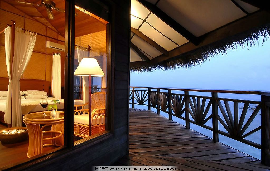 酒店度假 休闲 度假 海边 别墅 傍晚           旅游摄影 国外旅游