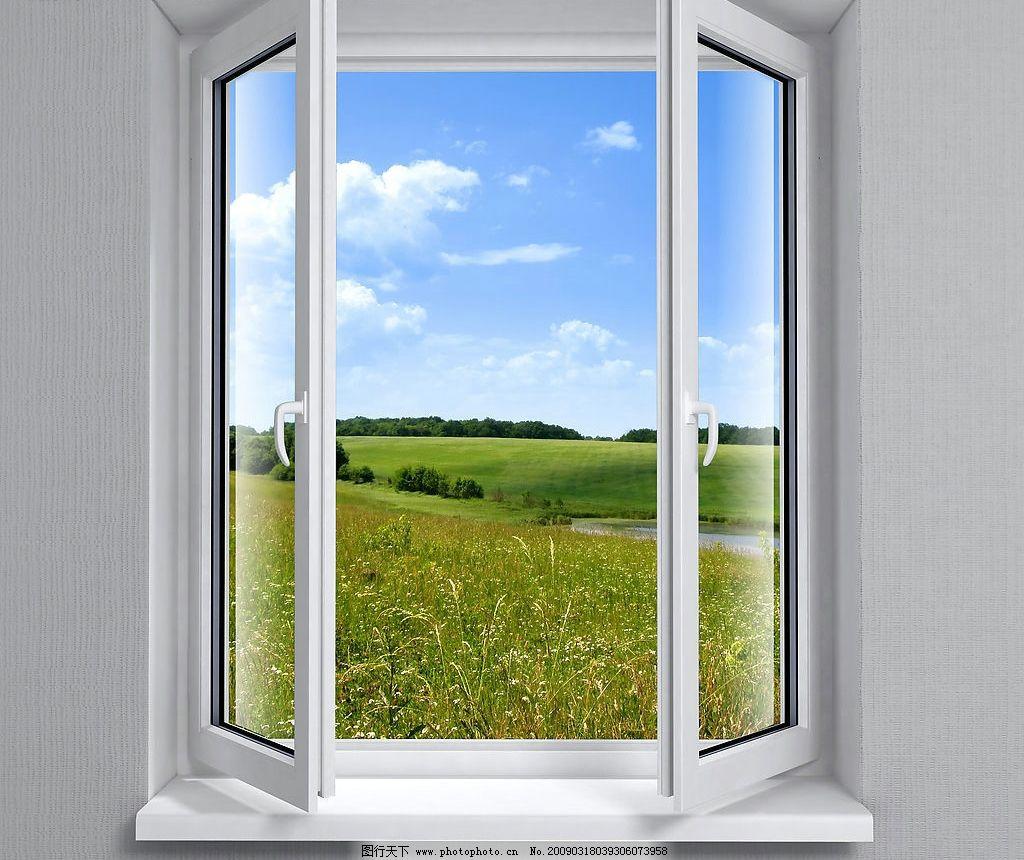 窗户特写 风景 蓝天 白云 花草 建筑园林 室内摄影 摄影图库图片