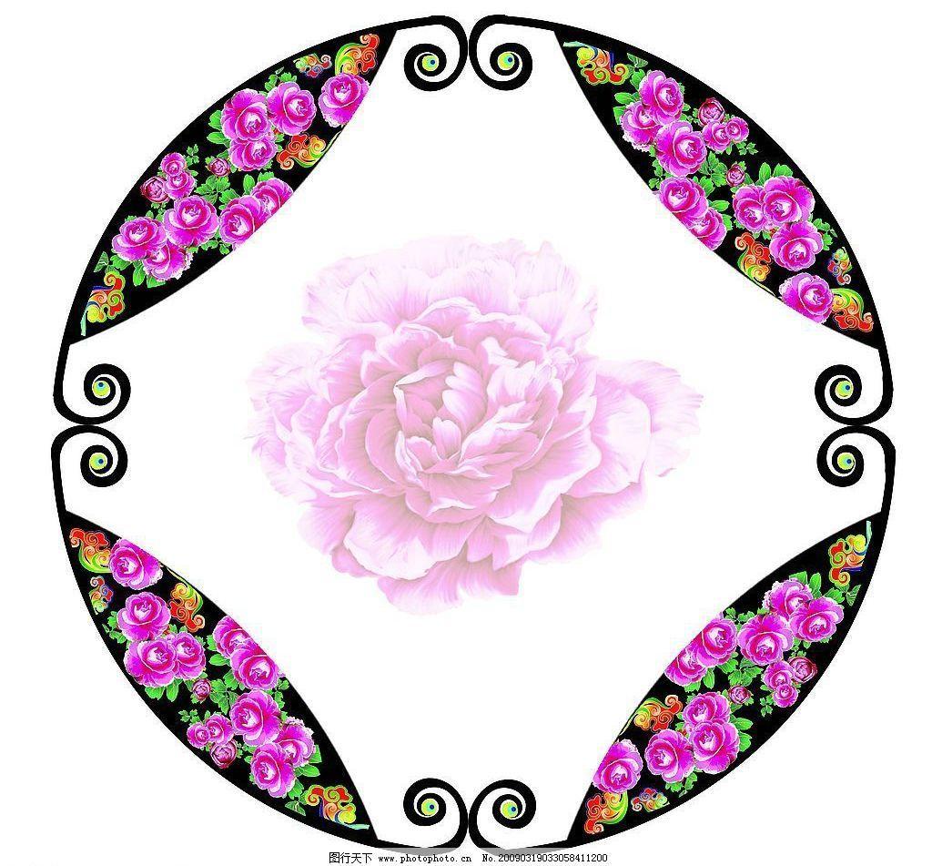 古典 山茶花 民族素材 民族花边 盘扣 圆形 圆形花边 花纹 孔雀 传统