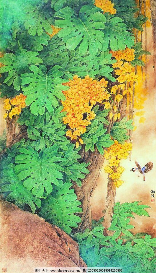 雨林春 中国工笔画 背景 陈湘波 风景 花鸟图 原野 榕树 文化艺术
