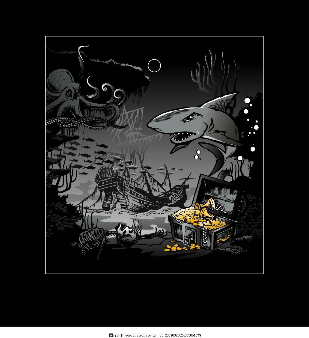海盗船 沙鱼 海底 宝藏 章鱼 黄金 动物 骷髅 水草 海洋 矢量图库