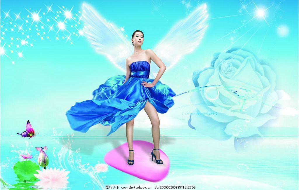 广告设计裙摆之蓝裙美女图片,蓝色萌的萌内衣美女飞扬1素材背图片