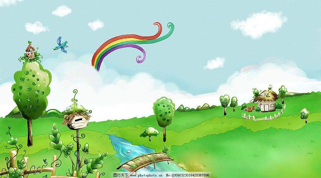 卡通背景 小鸟 小河 树 草地 动漫动画