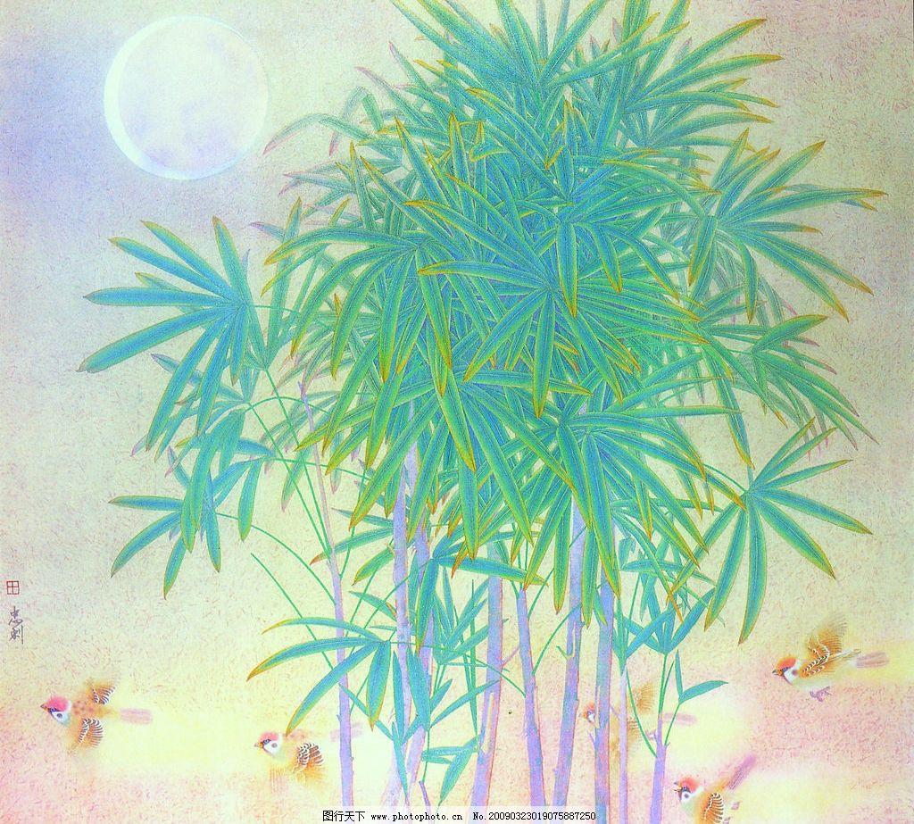 大自然的歌 中国工笔画 背景 田忠利 花鸟图 月亮 麻雀 树林 文化艺