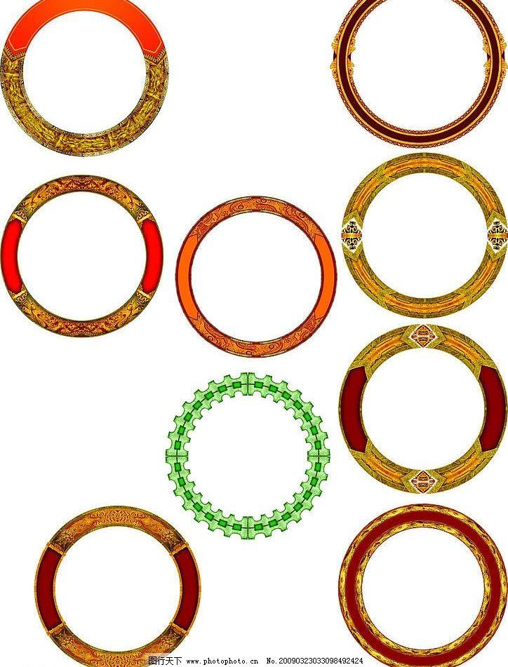 圆 古典 圆环 黄色 分层 边框 psd psd分层素材 源文件库 300dpi