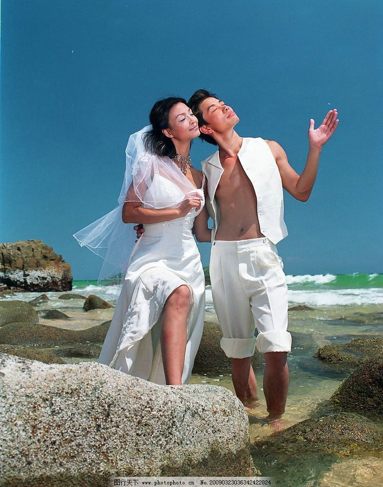 香港婚纱集 香港婚纱 户外婚纱 蓝天 白云 树 石头 沙滩 帅哥 美女 新