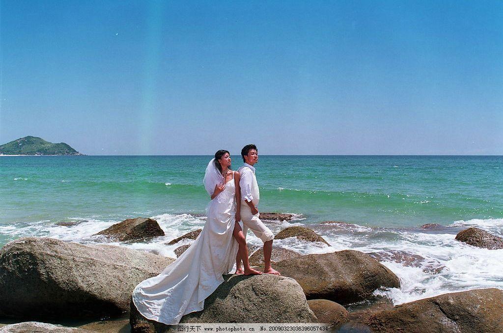 香港婚纱集 香港婚纱 户外婚纱 蓝天 白云 树 石头 沙滩 帅哥 美女