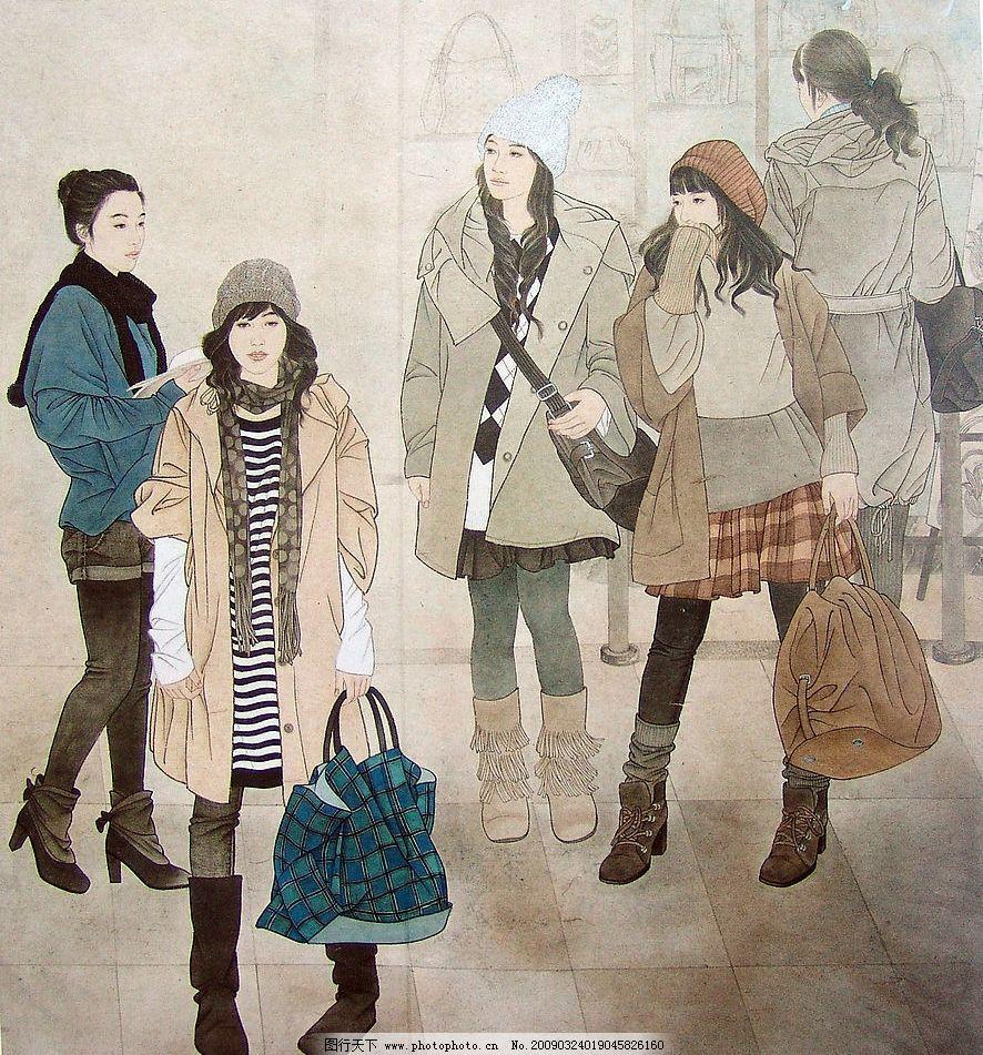 逛街 国画 人物画 现代工笔人物画 美女 文化艺术 绘画书法
