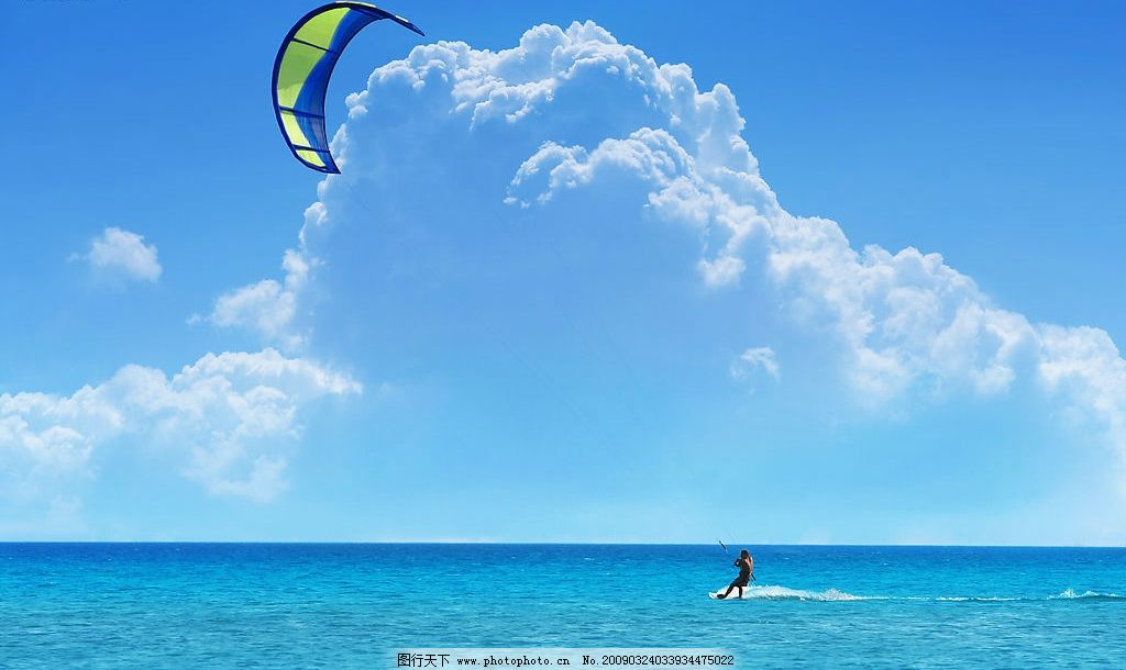 蓝天白云 海水