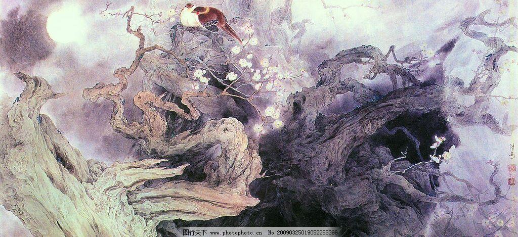 古胄凌烟月上时 中国工笔画 邹传安 花鸟画 月亮 枯树 风景 文化艺术