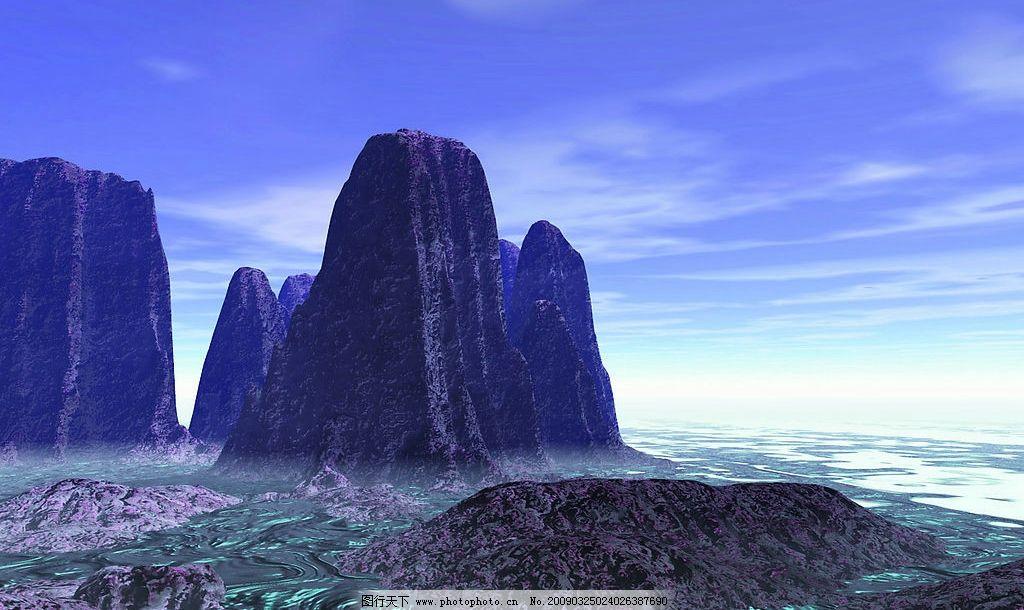 石之海 岩石 海洋 天空 飘云 磐石 广告设计