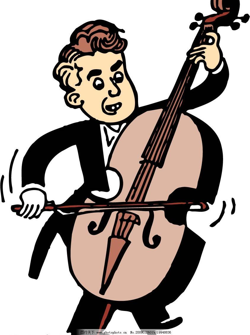 演凑乐器的人 琴 卡通 漫画 乐器 设计素材 人物 男人 文化艺术 舞蹈