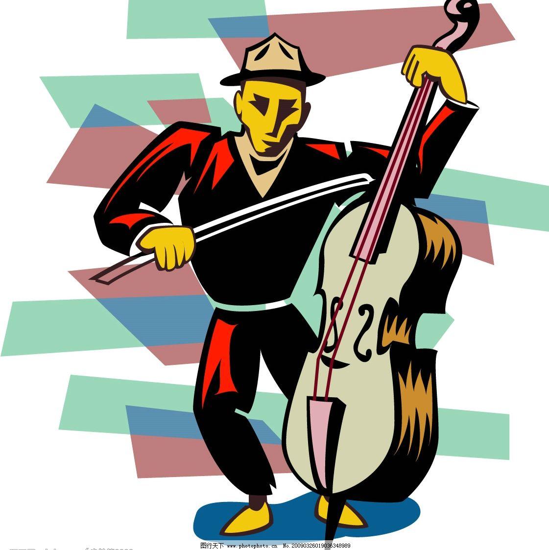 演凑乐器的人 卡通 漫画 乐器 设计素材 人物 男人 提琴 文化艺术