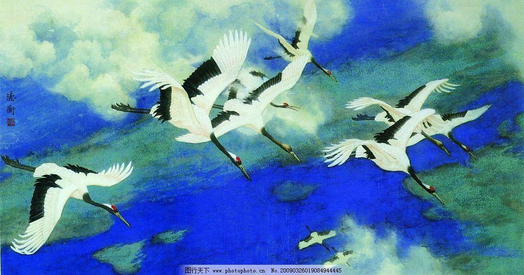 春归 中国工笔画 背景 杨德衡 风景 仙鹤 蓝天 俯冲 白云 春天 文化艺