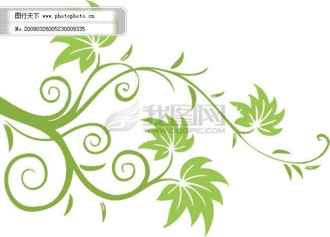 简单淡绿色花纹