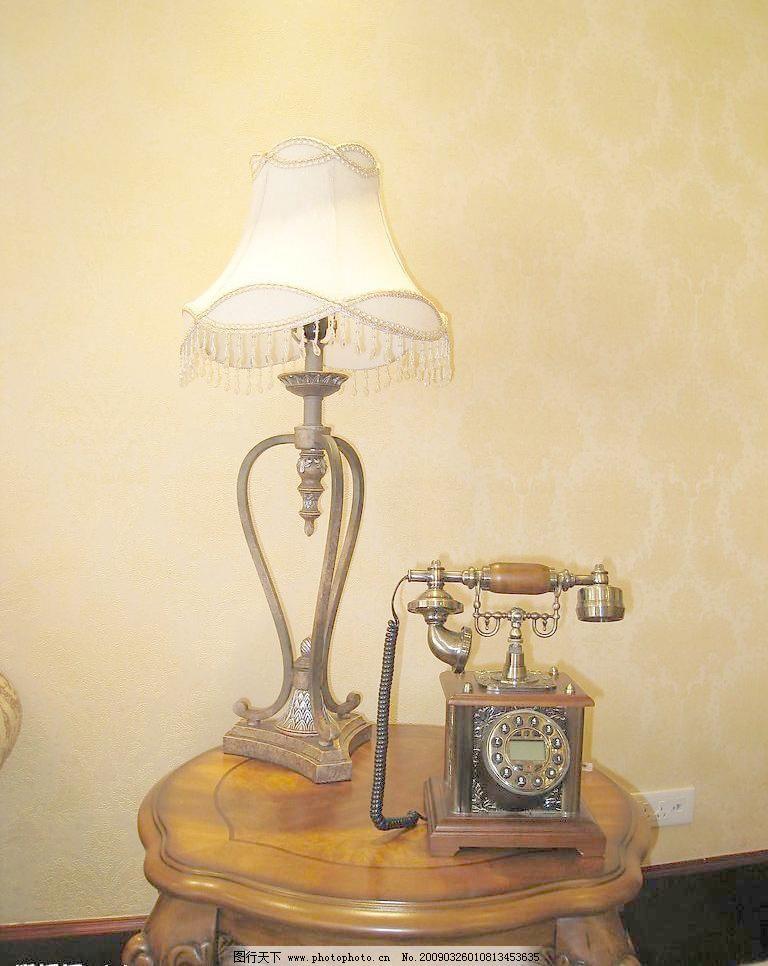 豪华欧式室内摄影-台灯电话图片