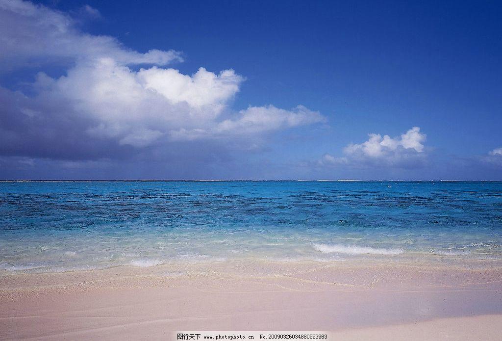 天空 蓝天 白云 阳光 沙滩 大海 摄影图库
