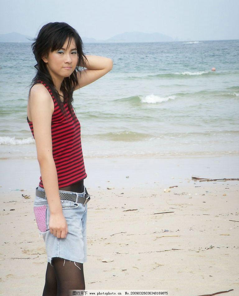 美女写真 海边 美女 写真 性感 时尚 黑色丝袜 人物图库 人物摄影