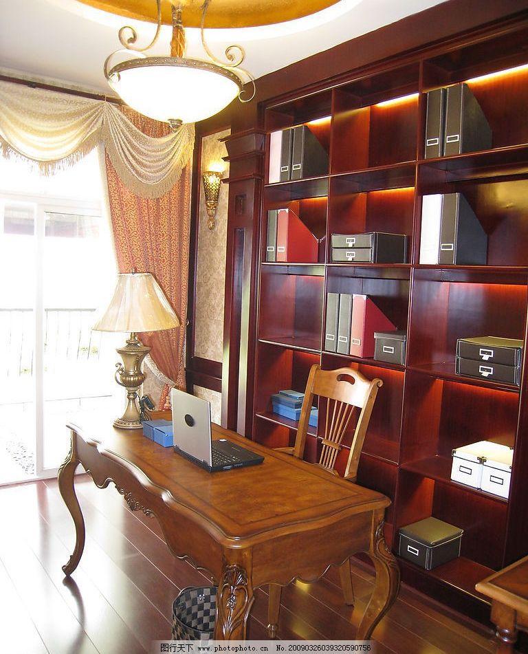 豪华欧式室内摄影书房图片