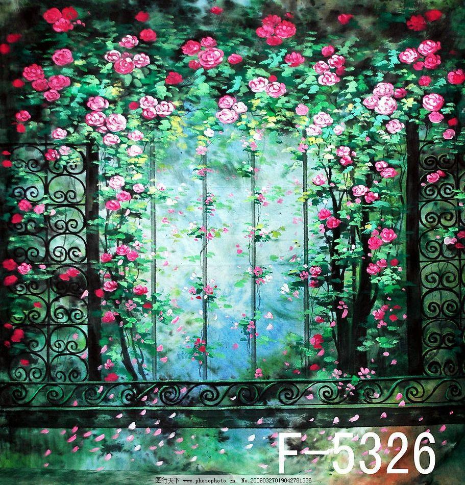 手绘花园背景图片
