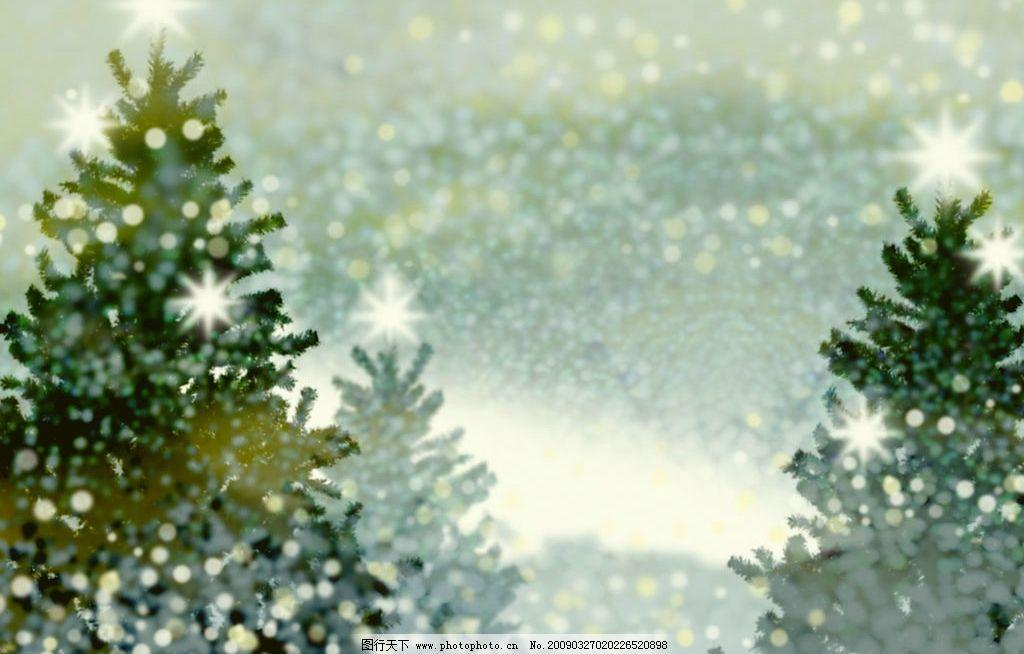 浪漫底纹 圣诞 圣诞树 灯光 雪花 雪景 温馨 朦胧 圣诞背景