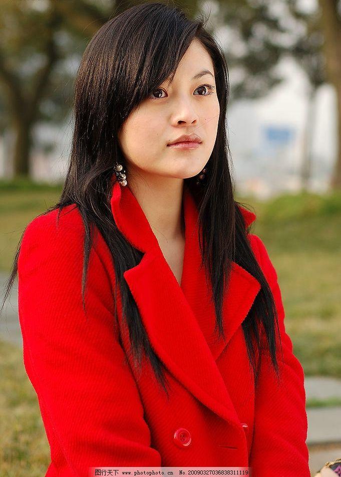 红衣美女 秀发 阳光 清纯 靓丽 人物图库 女性女人 摄影图库 美女 300