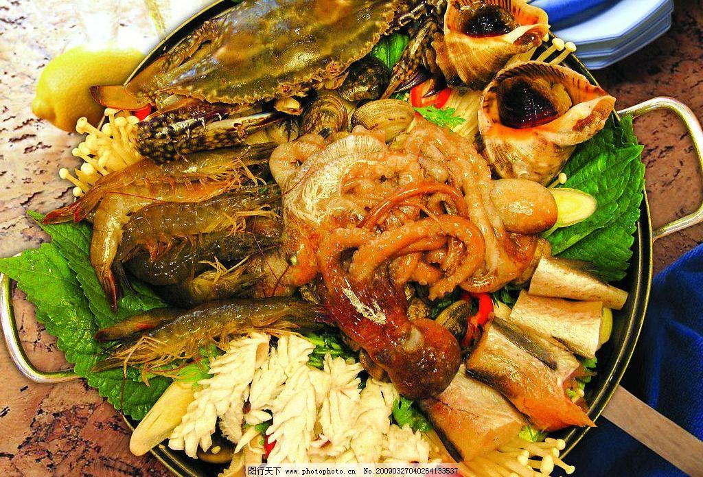 韩国海鲜大杂烩火锅图片